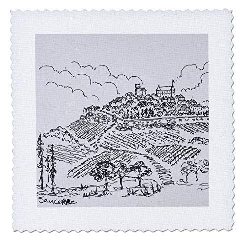 Valley Vineyards Loire - 3dRose Danita Delimont - France - Walled city of Sancerre surrounded by vineyards, Loire valley, France - 18x18 inch quilt square (qs_313138_7)