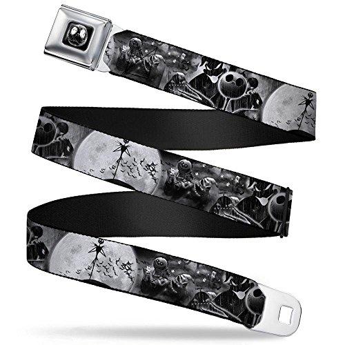 Jack Moon/Oogie Boogie Face Full Color Black/Grays Seatbelt Belt - Jack & Oogie Boogie Scenes Grays Webbing X-LARGE