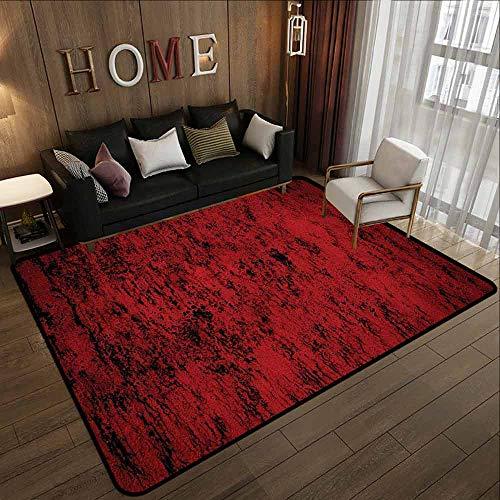 Custom Rug,Red and Black Pillow Sham,All Season Universal,6'6