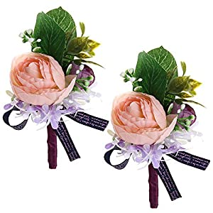 Febou Boutonniere Pack of 2 Wedding Boutonniere for Groom Bridegroom Groomsman Perfect for Wedding, Prom, Party (A-Pink) 18