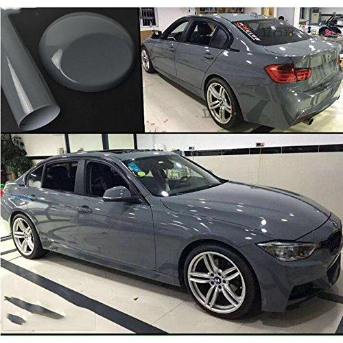 HOHO Automotive High Gloss Grey Film Stickers Modified Body Trim The Entire Car Color Paste Car Foil Interior Sticker (152cmx30cm)