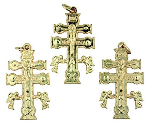 Lot of 3 Gold Tone Crucifix Cruz De Caravaca Cross with Angels Pendant, 1 1/2 Inch - Gold Medal Combo