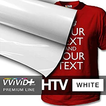 Image of VVIVID+ White Premium Line Heat Transfer Vinyl Film for Cricut, Silhouette & Cameo (12' x 1800' (150ft) Adhesive Vinyl