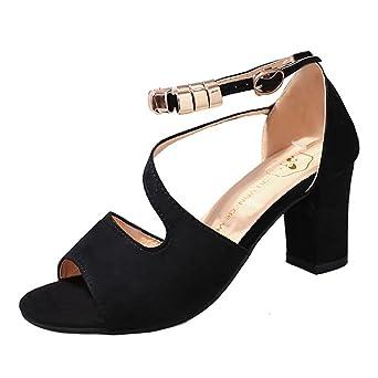 buy popular 9ce9b f6c29 Sandalen Damen Kolylong® Frauen Elegant Schwarz Schuhe mit Absatz Vintage  Wildleder Sandalette Mode High Heels Schuhe für Frühling Mädchen Sommer ...
