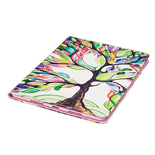 Trumpshop Smartphone Carcasa Funda Protección para Apple iPad Pro (9.7-Pulgadas) + Mariposas Doradas + PU Cuero Caja Protector Billetera Choque Absorción Árbol de colores