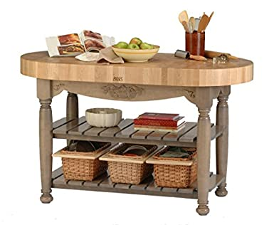Good Harvest Table Kitchen Island (Useful Gray Stain) (36u0026quot;H X 60u0026quot;