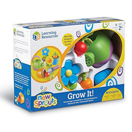 Learning Resources Pretend Play Set Grow It Plant and Grow Right Before Your Eyes with Min and Match Flowers and Veggies Along with Gardening Essentials Age: 2+