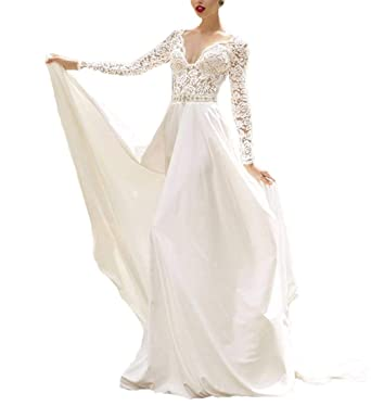 f35c2ffe29e Women s V-Neck A-line Lace Applique Long Sleeve Modest Wedding Dress Bridal  Gown