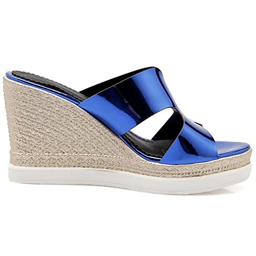 Blue Wedge KemeKiss Sandals Heel Women qPZwSZAI