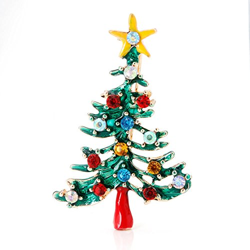 (Qingchin Women Vintage Christmas Tree Brooch Pin Rhinestone Jewelry Gift)