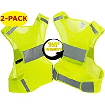 Reflective Vest for Running or Cycling (2 Pack) | Reflector Jackets with Pockets | High Visibility Safety Clothing for Bike, Walking, Runners | Security Gear for Women, Men, Kids | S, M, L, XL Size