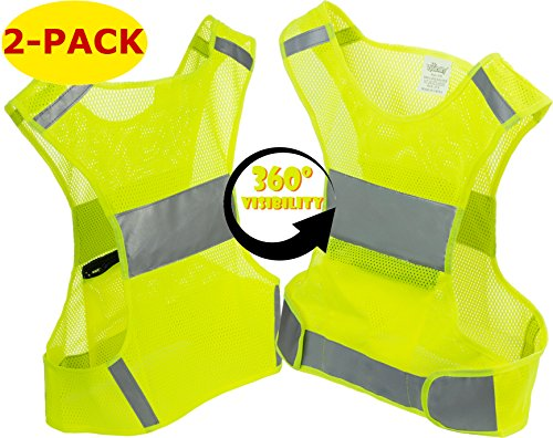 Mr Visibility Reflective Vest for Running or Cycling (2 Pack) | Reflector Jackets with Pockets (Fluo Yellow, (2 Pack) L)