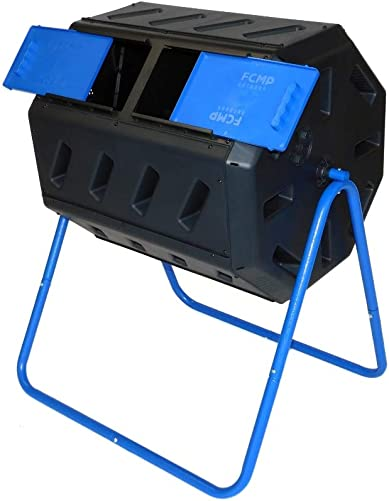 FCMP Outdoor IM4000 Dual Chamber Tumbling Composter Blue