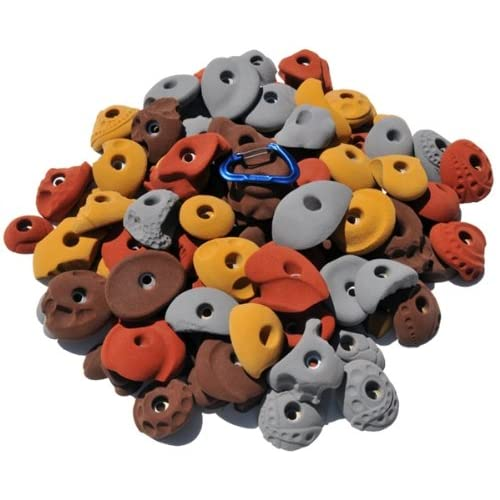 Image of Atomik Climbing Holds 100 Pack Bolt Ons - Includes Small, Medium and Large Rock Climbing Holds
