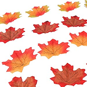 Yarssir 200Pcs Mixed Artificial Leaves Assorted Fall Maple Leaf Multicolor Autumn Fall Leaves for Weddings,Christmas party,Events and Decorating 2