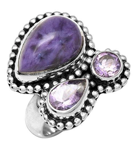 YoTreasure Charoite Amethyst 925 Sterling Silver Designer Ring