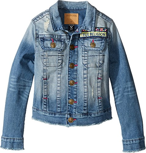 irl's Emily Denim Jacket (Big Kids) Bleached Wash Small (Two Tone Small Girl)
