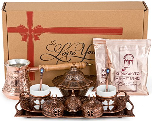 BOSPHORUS 16 Pieces Turkish Greek Arabic Coffee Making Serving Hand-out Set with Copper Pot Coffee Maker, Cups Saucers, Tray, Sugar Bowl & 6.6 Oz Coffee