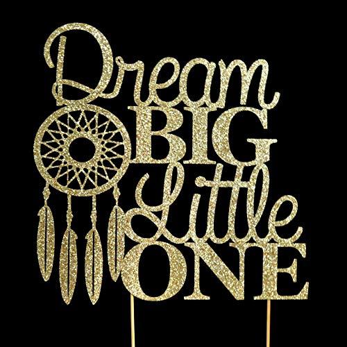 - Dream Big Little One Gold Glitter Paper Baby Shower Cake Topper