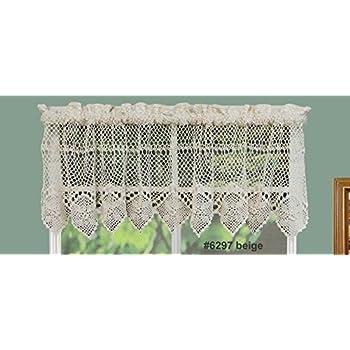 This Item Creative Linens Cotton Crochet Lace Kitchen Curtain Valance Beige  Handmade