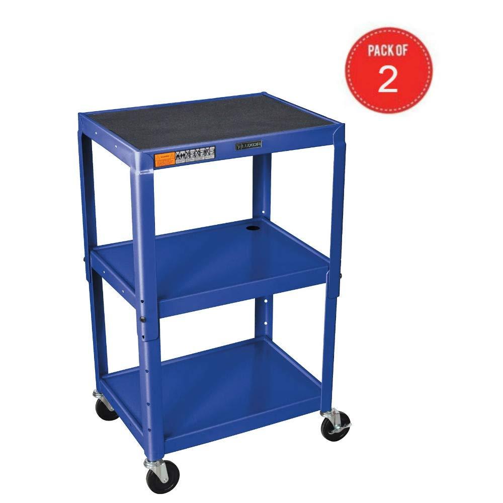 Luxor AVJ42-RB – Adjustable Height Steel A V Cart – Three Shelves, Blue Pack of 2