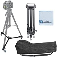 Elite Series Professional Universal Tripod Dolly w/ One Step Easy Lock & Locking Wheels for all Cameras and Camcorders & an eCostConnection Microfiber Cloth