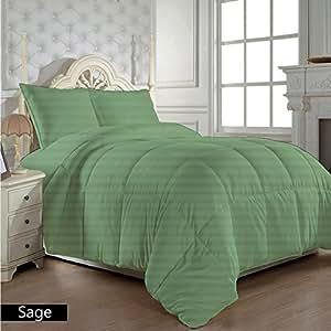 Dreamz ropa de cama muy suave 400hilos 100% algodón 1pieza edredón/Colcha (300G/m² de relleno) Reino Unido doble, salvia verde diseño de rayas algodón egipcio 400tc)