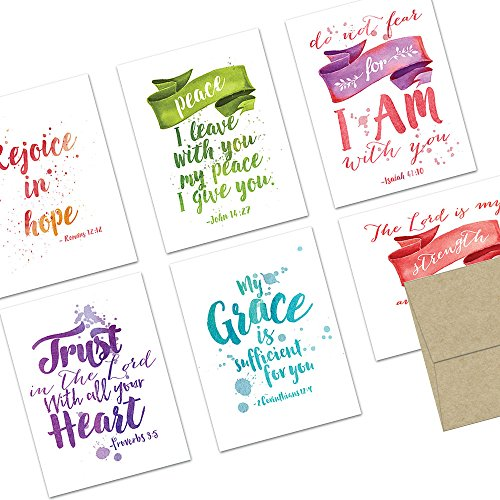 72 Note Cards - Watercolor Scripture - Blank Cards - Kraft Envelopes - Bible Greeting Cards