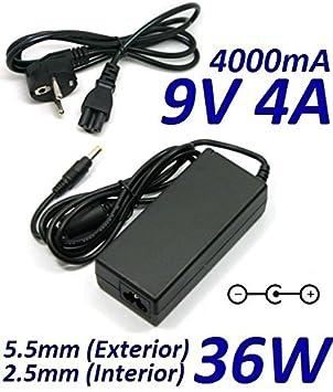 Cargador Corriente 9V 4A 4000mA 5.5mm 2.5mm 36W: Amazon.es ...