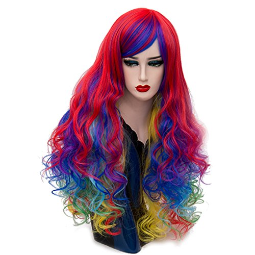 Alacos 70cm Long Heat Resistant Hair Multicolored Cosplay Wigs for Women+ Wig Cap (Multicolored)