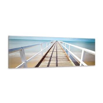 Langer Holzsteg ins Meer Leinwandbild Wanddeko Kunstdruck