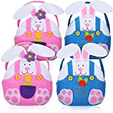 4 Pieces Easter Bunny Rabbit Bag Easter Baskets Felt Candy Bags for Kids Supplies