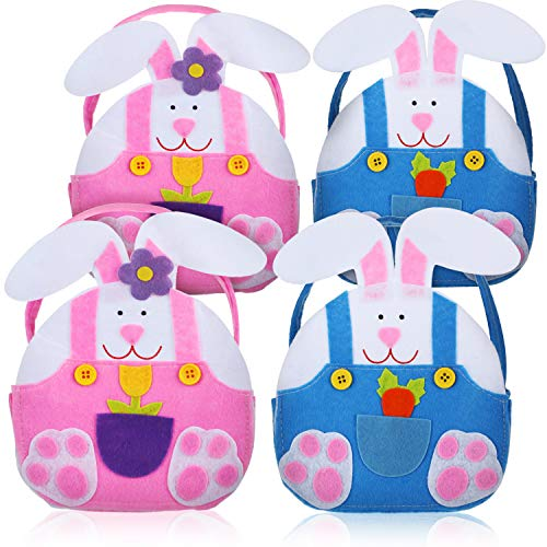 Blulu 4 Pieces Easter Bunny Rabbit Bag Easter Baskets Felt Candy Bags for Kids Supplies