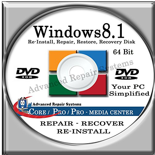 WINDOWS 8.1 SYSTEM REPAIR & RE-INSTALL 64 BIT BOOT DISK: Repair & Re-install any version of Windows 8.1 Client,...