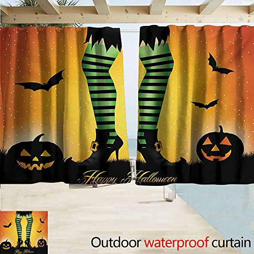 AndyTours Simple Curtain,Halloween Cartoon Witch Legs with Striped Leggings Western Concept Bats and Pumpkins Print,Drapes for Outdoor Decor,W55x63L Inches,Multicolor -