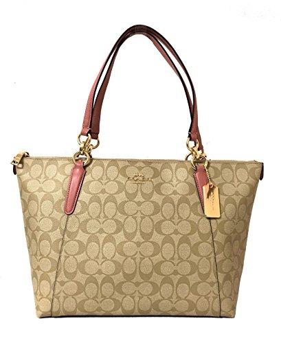Coach AVA Leather Shopper Tote Bag Handbag (IM/Lt Khaki/Vintage Pink)]()