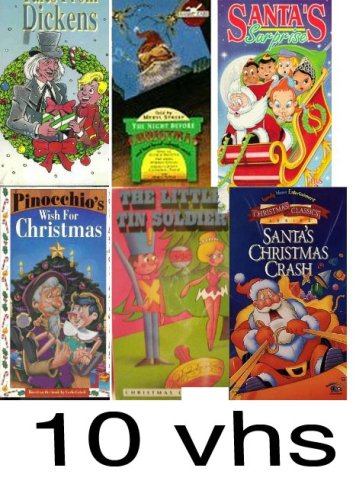 christmas pack 10 vhs: Night Before Christmas, the magic of christmas: stories of christmas & rudlph the red nosed reindeer, Tales from Dickens, christmas pupies, Pinocchio Wish for Christmas, The Little Tin Soldier, Santa's Surprise, Here Comes Santa Paws. Santa's Christmas Crash