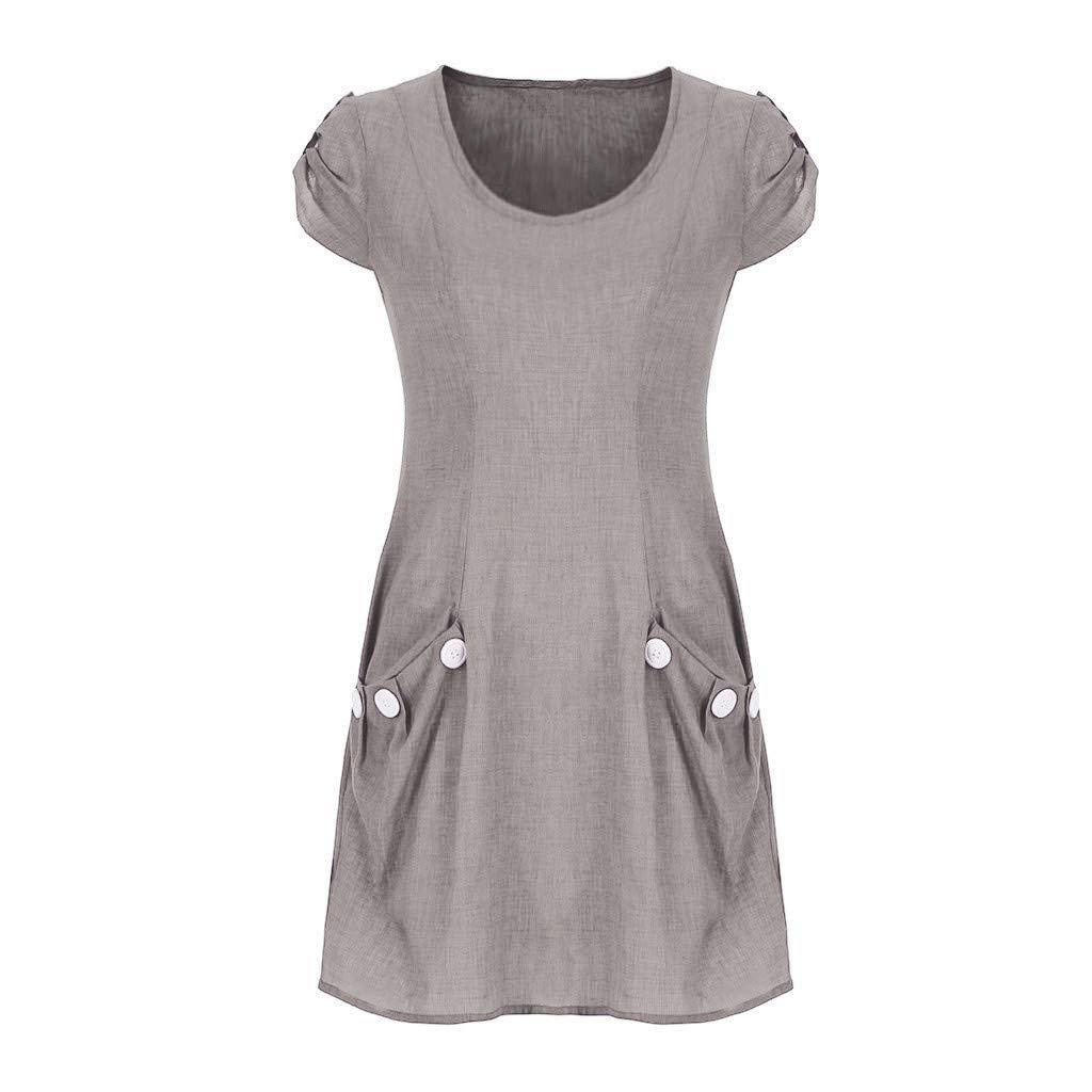 Womens Linen Dress Casual O-Neck Ruffle Pocket Button Sundress Summer Beach Sleeveless Ruffle T-Shirt Short Dresses S-5XL