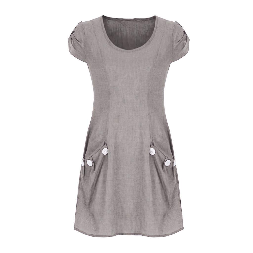 NRUTUP Women Casual Solid Ruffled Pockets O-Neck Shift Daily Buttoned-Decor Dresses (Gray,XL) by NRUTUP (Image #2)