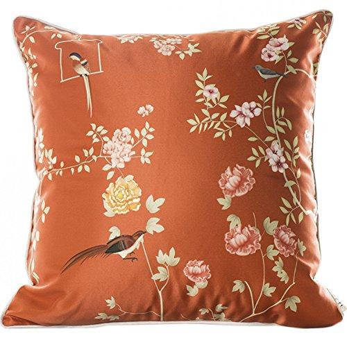 ChezMax Faux Silk Blend Colorful Flower Print Sofa Seat Cushion Cotton Square Decorative Throw Pillow Cushion 18 X 18''