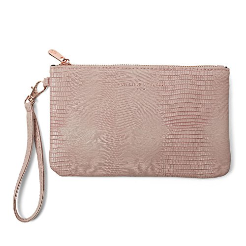 Adrienne Vittadini Zip-Around Charging Wristlet with Detachable Strap (Pale Pink Snake)
