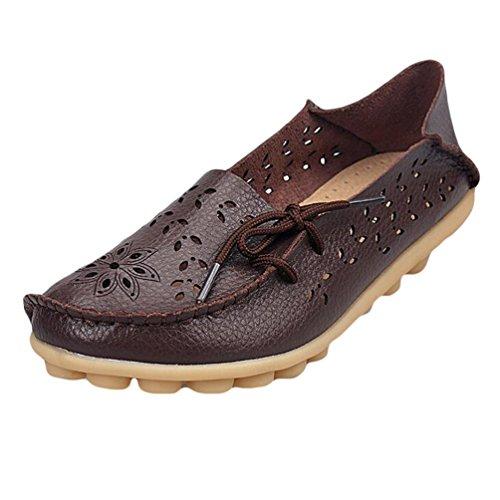 Heheja Mujer Hueco Ocio Piso Zapatos Mocasines de Cuero Loafers con Bowknot Café