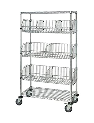 "Quantum Storage Systems Mobile Wire Basket Units - Chrome- 18""W X 36""L X 69""H"