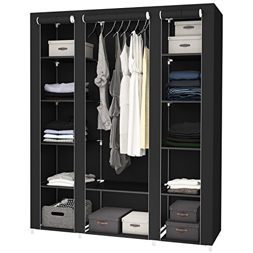 "SONGMICS 59"" Portable Clothes Closet Wardrobe Storage Organizer with Non-woven Fabric, Quick and Easy to Assemble, Extra Strong and Durable, Black ULSF03H"
