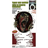 Amscan Halloween Zombie Scream Dripping Blood Toilet Topper Scene Setter Decoration Grabber Vinyl Cover