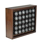 AllSpice Wooden Spice Rack, Includes 30 4oz Jars- Walnut Stain