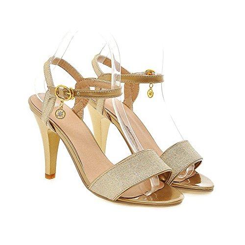 AllhqFashion Damen Blend-Materialien Rein Schnalle Offener Zehe Hoher Absatz Sandalen mit Hohem Absatz Golden