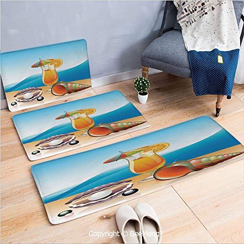 - 3 Piece Water Uptake Indoor Modern Anti-Skid Cartoon Carpet,Pearls Decor,Seashells and Glass of Orange Juice with Sea Summer Beach Prints Decorative,Blue Orange Purple,16x24/16x39/18x45 inch