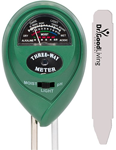"Soil Moisture Meter, 3-in-1 ""Soil Tester"" For Home, & Garden. Soil Ph Meter, Soil Water Monitor, Soil Light Sensor. Plus A 5'' Pot Label. No Batteries. Great For Gardening, Farming, Indoor, Outdoor by Dr. GoodLiving"