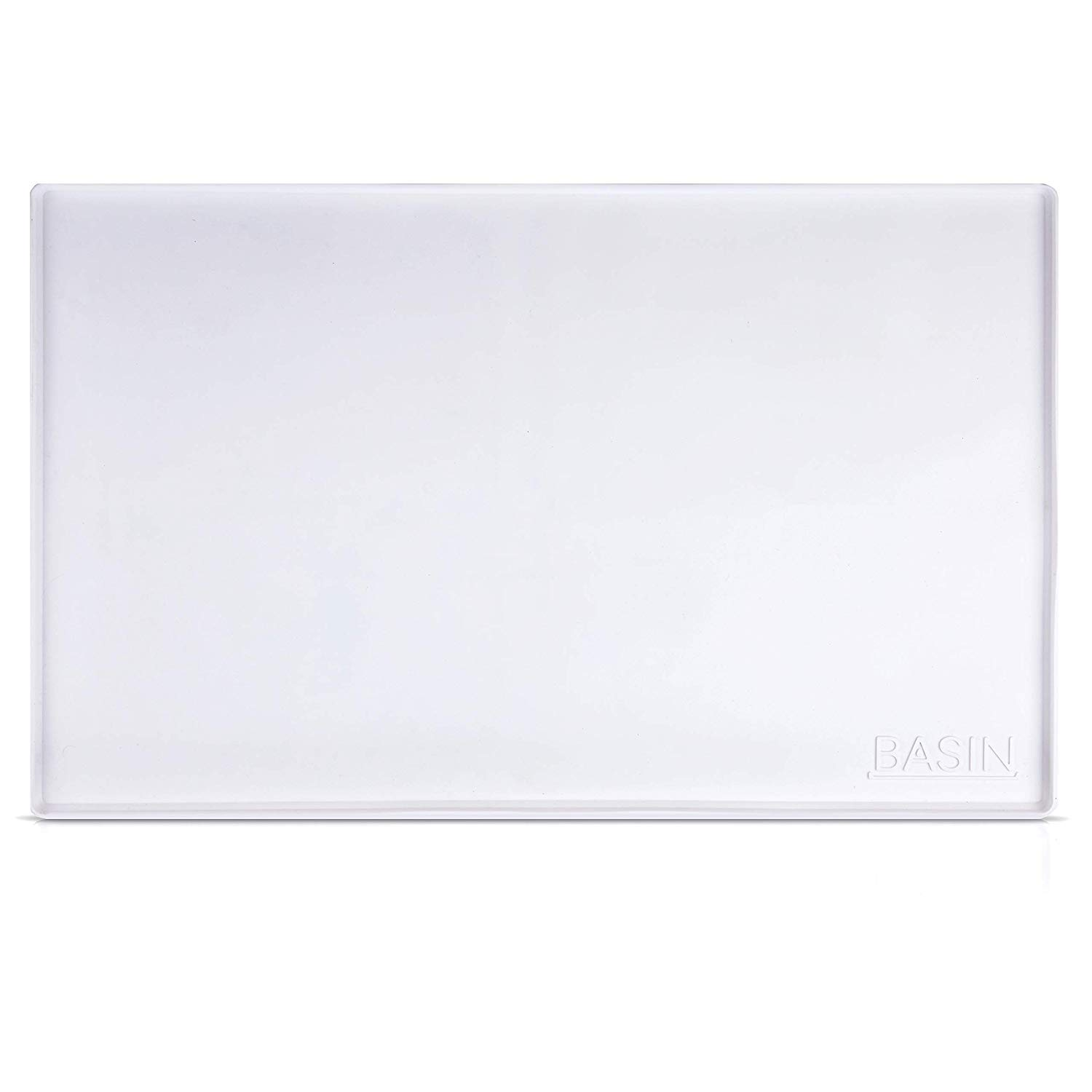 "BASIN White Silicone Under Sink Mat for 36""+ cabinets. (34.25"" x 21"", Holds 2 Gallons) Large Silicone Cabinet Liner with Lip."